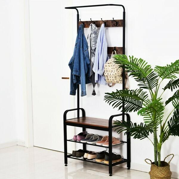 HOMCOM® Kleiderständer Garderobe Schuhbank mit 8 Haken Kleiderstange Schwarz 72 x 34 x 185 cm