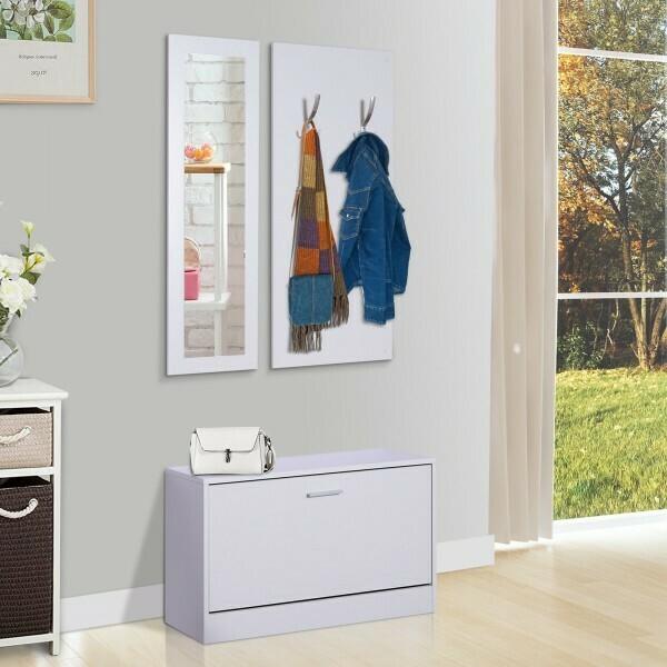 HOMCOM® Flurgaderobe 3-teiliges Garderoben-Set mit Schuhschrank Garderobe Wandspiegel 4 Haken Weiss 30 x 100 cm