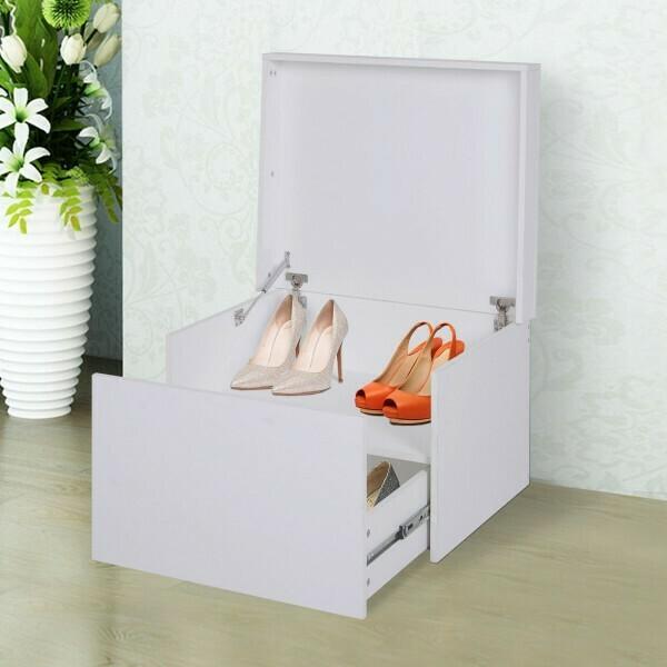 HOMCOM® Schuhschrank Schuhregal Schuhbank mit Schublade und Klappe Holz Weiss 70 x 60 x 42 cm