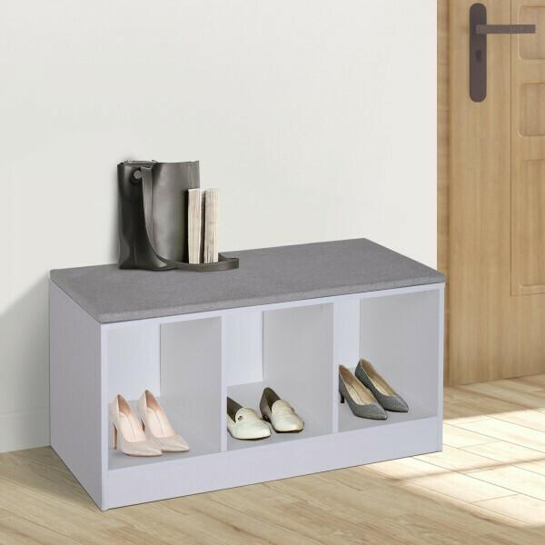 HOMCOM® Schuhbank mit Sitzkissen Schuhschrank Schuhregal Lowboard Garderobe Flur Diele Holz Weiss 89,6 x 35,6 x 47 cm