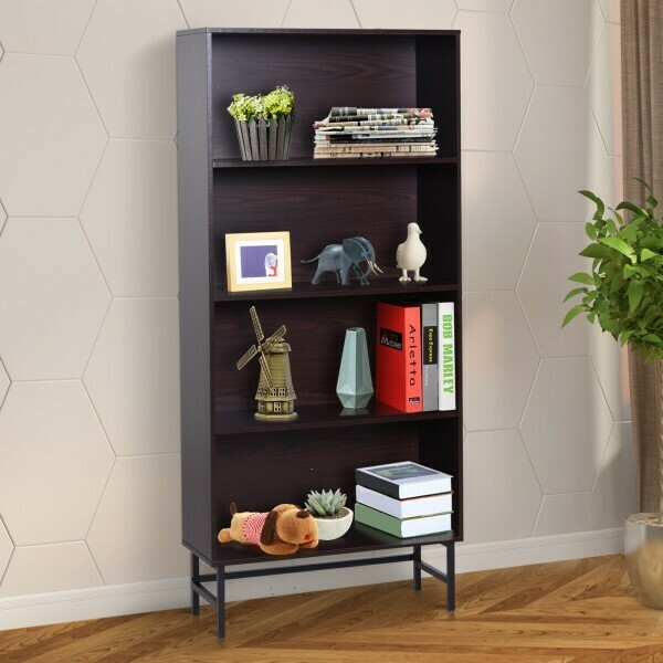 HOMCOM® Standregal Aktenregal Bücherregal Büroregal Holzregal Arbeitszimmer 4 Fächer Dunkelkaffee 80 x 29,5 x 180 cm