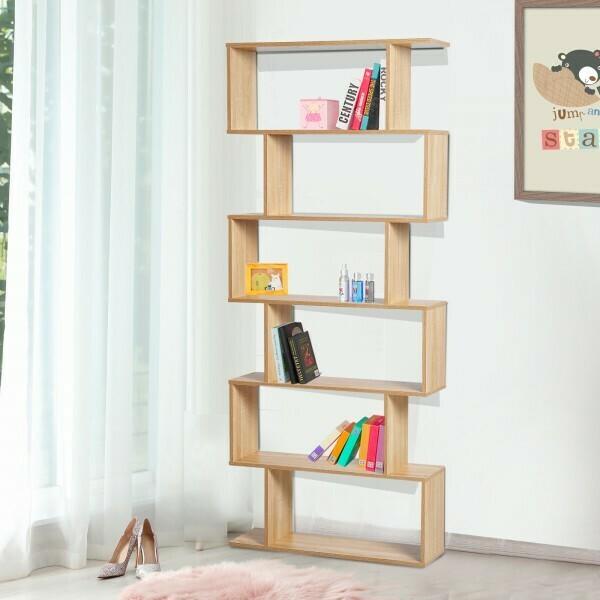 HOMCOM® Bücherregal Wandregal Raumteiler mit 6 Fächern Eiche