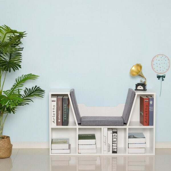 HOMCOM® Bücherschrank Bücherregal mit Sitzkissen Standregal Regal mit Sitzbank Holz Leinen Weiss 102 x 30 x 61cm