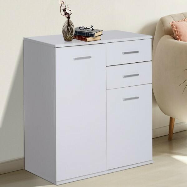 HOMCOM® Kommode Standschrank Sideboard Schubladenkommode Beistellschrank verstellbar Fach mit 2 Schubladen Weiß 71 x 35 x 76 cm