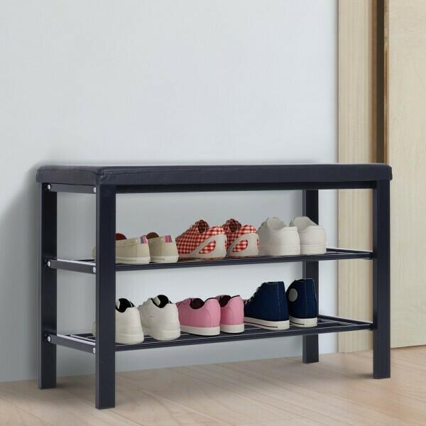 Schuhregal 2 Schuhablagen Schuhständer Sitzbank Stahl schwarz 6–8 Paar Schuhe 80 x 30 x 48 cm
