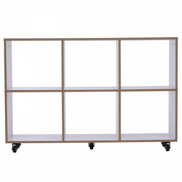 HOMCOM® 6 Fächer Rollregal Bücherregal Standregal mit 5 Rollen Holz Weiß 120 x 30 x 80 cm