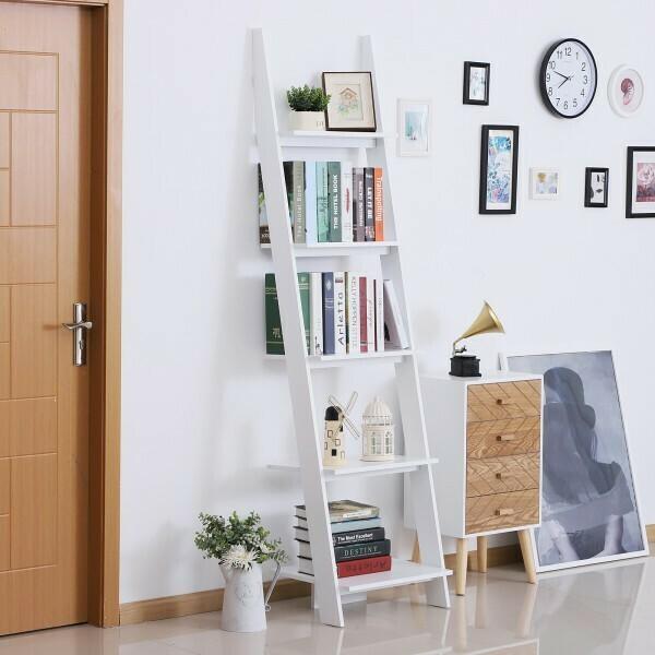 HOMCOM® Standregal Bücherregal Leiterregal Stufenregal Holz weiß 5 Fächer 50 x 40 x 195 cm