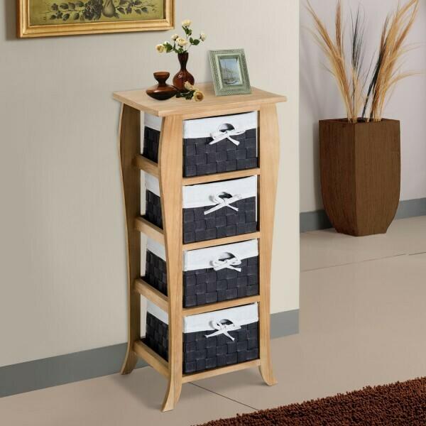 HOMCOM® Kommode mit 4 Schubladen Holz H79,5cm Natur