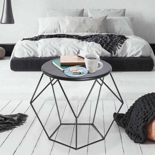HOMCOM® Couchtisch Beistelltisch Satztisch Nachttisch rund Metallkorb 54 x 54 x 44 cm