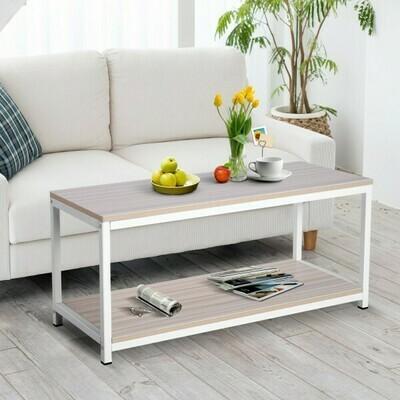 Outlet: Vinsetto® Couchtisch Beistelltisch Sofatisch Flurtisch Ablage skandinavisch Holz + Metall Natur + Weiß 100 x 40 x 44,5 cm