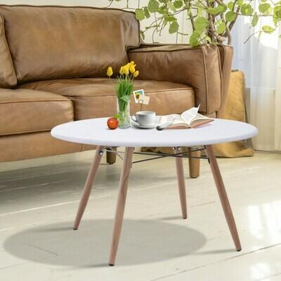 HOMCOM® Couchtisch Beistelltisch Kaffeetisch Teetisch Nachttisch rund Holz + Metall Ø80 x H45 cm