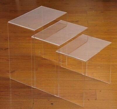 HOMCOM® 3er Set Beistelltisch Wohnzimmertisch Couchtisch Acrylglas Gebogen