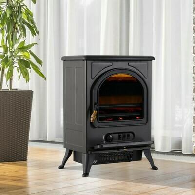 HOMCOM® Elektrokamin Kaminofen Standkamin mit Flammeneffekt 900/1800W