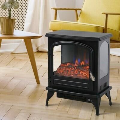 HOMCOM® Elektrokamin mit Flammeneffekt Thermostat 750/1500 W 20-30 ㎡ Schwarz Metall 41 x 25,4 x 52 cm