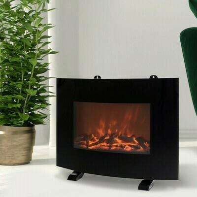 HOMCOM® Elektrokamin Thermostat mit Flammeneffekt 750/1500 W 15-35 ℃ Schwarz Metall 55 x 15,5 x 40 cm