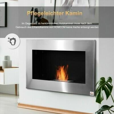HOMCOM® Ethanol-Kamin Bio-Ethanol-Brenner 1,5 l 2,5 Stdn. Brenndauer kein Rauch Edelstahl 90 x 14 x 54 cm