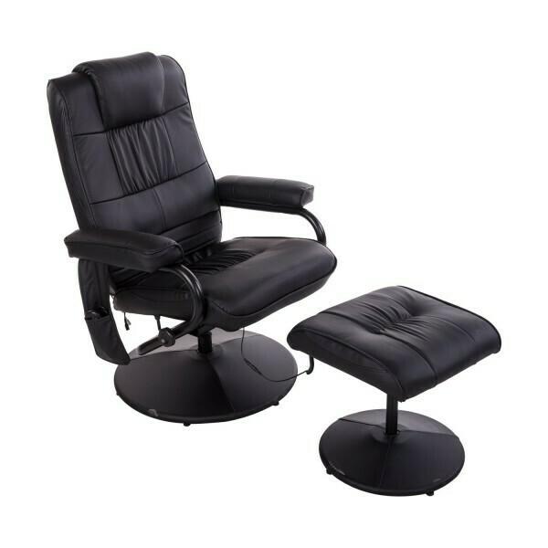 HOMCOM® TV Sessel Massagesessel mit Hocker und Wärmefunktion Schwarz