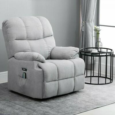 HOMCOM® Massagesessel Relaxsessel mit Wärmefunktion, Aufstehhilfe und Massage Fernbedienung PU Grau 94 x 96 x 104 cm