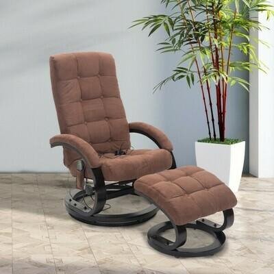 HOMCOM® Massagesessel TV Sessel Fernsehsessel mit Wärmefunktion braun