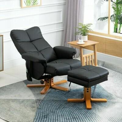 HOMCOM® Massagesessel mit Fußhocker Relaxsessel Heizfunktion 145° Neigung PU Schwarz 80 x 86 x 99 cm