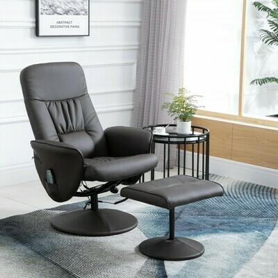 HOMCOM® Massagesessel mit Fußhocker Relaxsessel Heizfunktion 135°-Neigung PU Braun 81 x 81 x 105 cm