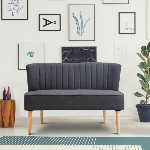 HOMCOM® 2-Sitzer Couch Stoffsofa Polstersofa Sitzmöbel Holz dunkelgrau 117 x 56,5 x 77 cm
