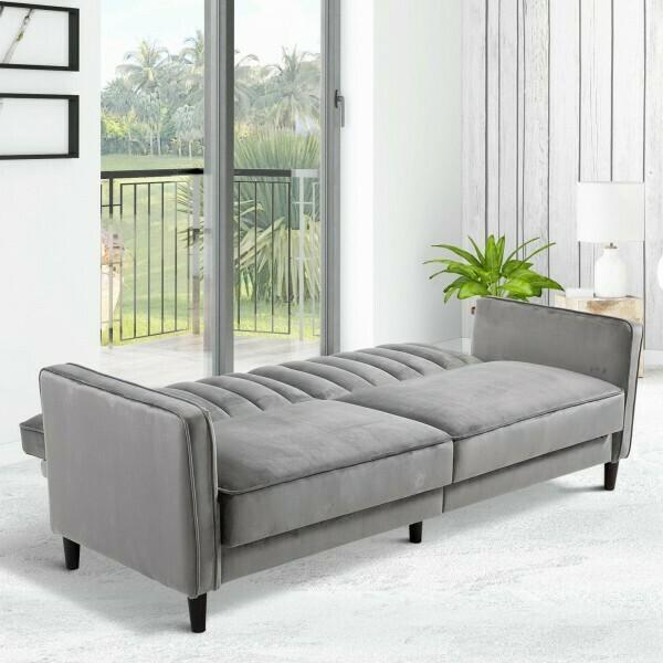 HOMCOM® Schlafsofa Dreisitziger Couch mit dicker Polsterung Flanell Metallrahmen 250 kg Belastbarkeit 205 x 98 x 98 cm