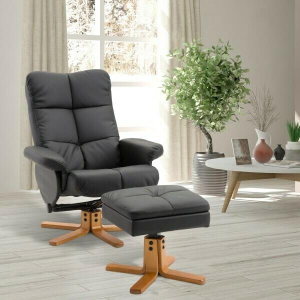 HOMCOM® Relaxsessel Fernsehsessel mit Hocker Liegefunktion Schwarz