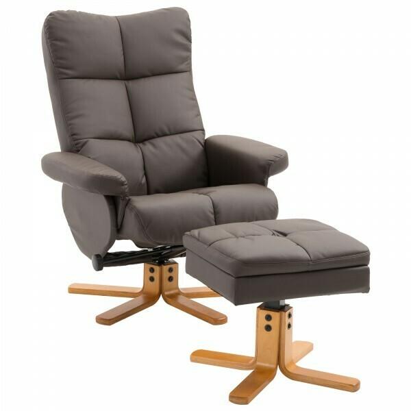 HOMCOM® Relaxsessel Fernsehsessel mit Hocker Liegefunktion Braun
