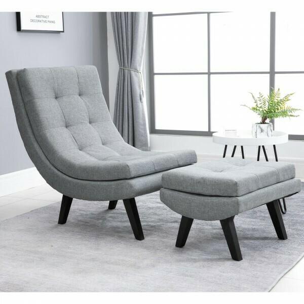HOMCOM® Sessel mit Fußhocker Relaxliege Chaiselongue Kautschukholzbeine Leinen Grau