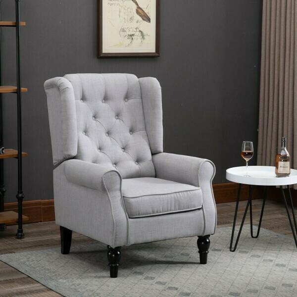HOMCOM® Ohrensessel Relaxsessel Einzelstuhl mit Tufting Holzfüße Polyester Grau