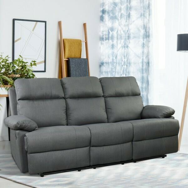 HOMCOM® 3 Sitzer Relaxsofa Couch Rückenlehne verstellbar Leinen dunkelgrau