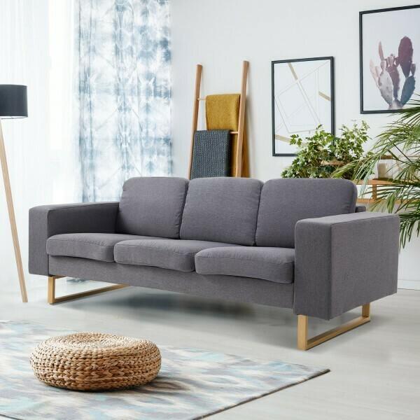 HOMCOM® Polstersofa 3-Sitzer Sofa Stoffsofa Sitzmöbel Armlehne Leinen dunkelgrau