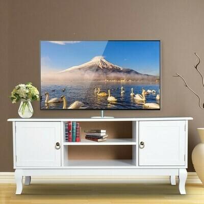 HOMCOM® TV Lowboard Fernsehtisch Ständer Holzfüße MDF Weiss