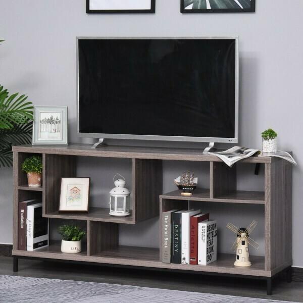 HOMCOM® Lowboard TV Schrank mit Viel Stauraum Spanplatte Hellbraun