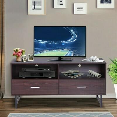 HOMCOM® Fernsehtisch TV-kommode Unterschrank 2 x Schublade Holz Dunkelkaffee