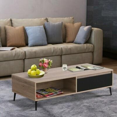 HOMCOM® Couchtisch Beistelltisch Sofatisch Fernsehtisch Kaffeetisch 2 x Schublade 2 x Ablage Holz