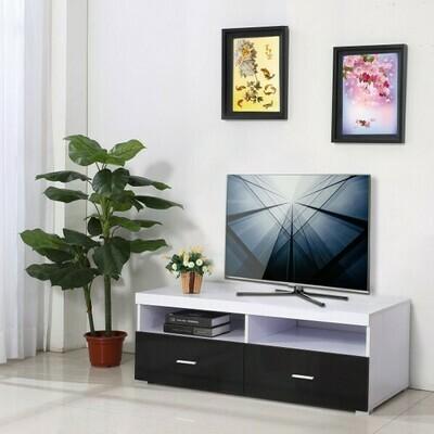 HOMCOM® Fernsehtisch Lowboard TV Rack Board Regal Schrank Holz Schwarz Weiss