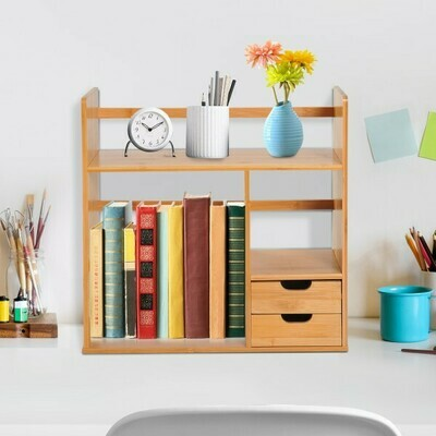 HOMCOM® Tisch Bambus Bücherregal Student Lagerregal