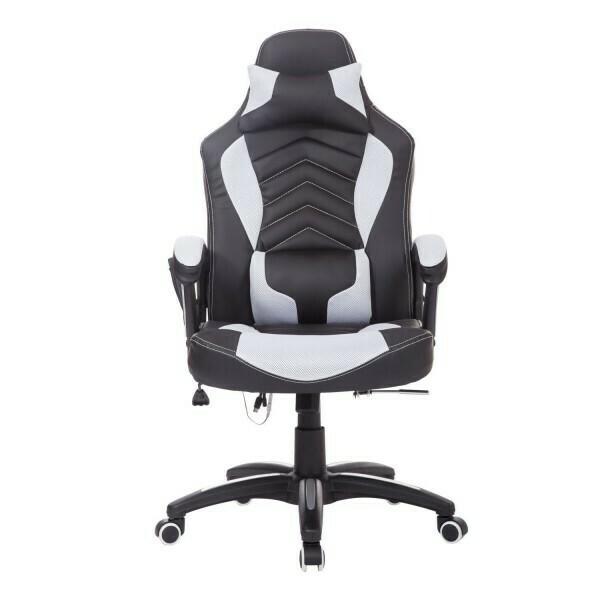 HOMCOM® Bürostuhl Gaming Stuhl mit Massage- und Wärmefunktion schwarz-weiss