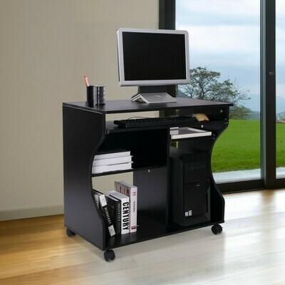 HOMCOM® Computertisch rollbar mobil PC Tisch Schwarz
