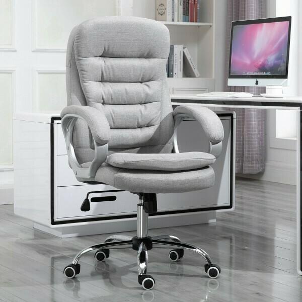 HOMCOM® Bürostuhl Ergonomischer 360° Drehstuhl Wippfunktion höhenverstellbar Grau Leinen
