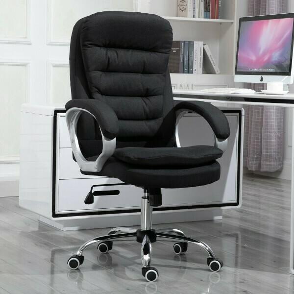 HOMCOM® Bürostuhl Ergonomischer 360° Drehstuhl Wippfunktion höhenverstellbar Schwarz Leinen