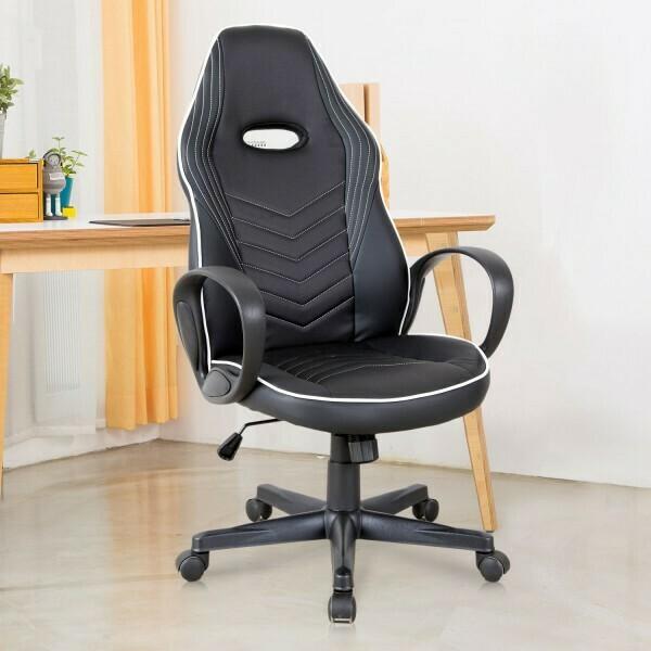 Vinsetto® Bürostuhl Gaming Stuhl Drehstuhl Wippfunktion Höhenverstellbar Schwarz+Weiß PU
