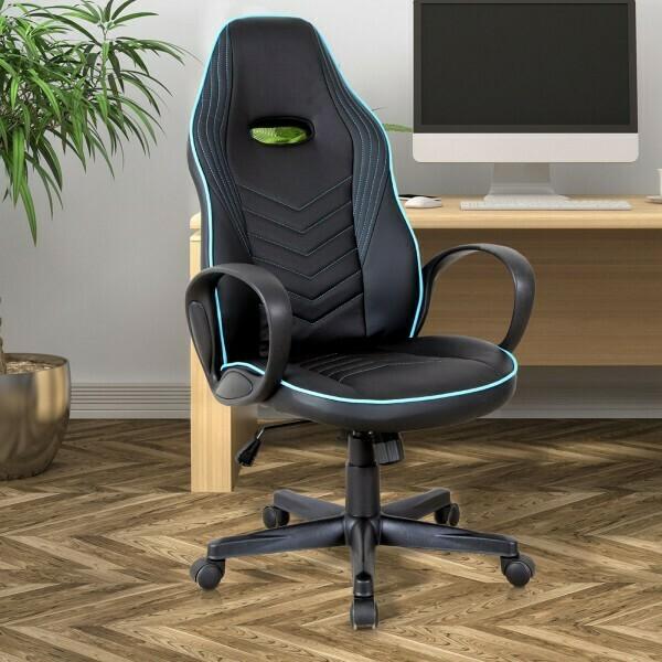 Vinsetto® Bürostuhl Drehstuhl Gaming Stuhl Höhenverstellbar Wippfunktion Schwarz+Blau