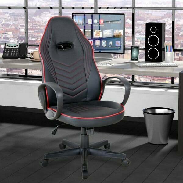 Vinsetto® Bürostuhl Drehstuhl Gaming Stuhl Wippfunktion Höhenverstellbar rot PU