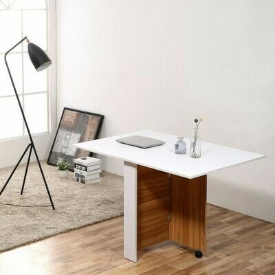 HOMCOM® Klapptisch Mobiler Tisch Schreibtisch mit Rollen Eiche+Weiss