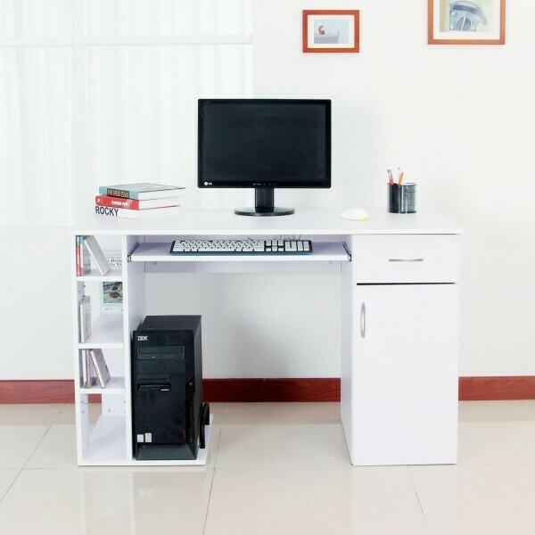 HOMCOM® Computertisch Schreibtisch Bürotisch mit Schrank PC Tisch Holzfurnier weiss