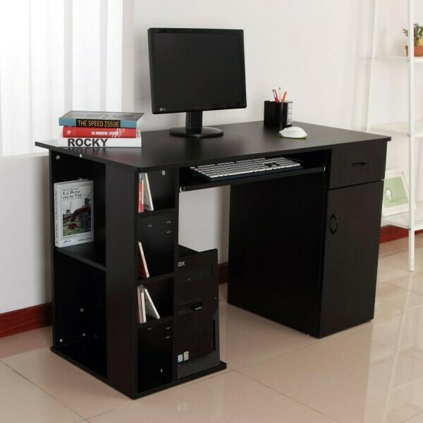 HOMCOM® Schreibtisch Bürotisch aus Holz Computertisch PC Tisch schwarz