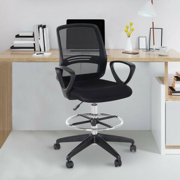 Outlet: Vinsetto® Stehhilfe Arbeitshocker mit Rückenlehne Höhen- & Neigeverstellbar 360° Metall